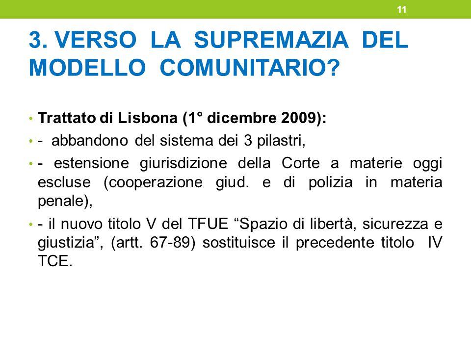 3. VERSO LA SUPREMAZIA DEL MODELLO COMUNITARIO? Trattato di Lisbona (1° dicembre 2009): - abbandono del sistema dei 3 pilastri, - estensione giurisdiz