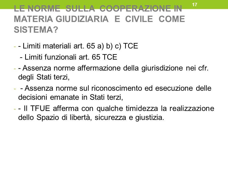 LE NORME SULLA COOPERAZIONE IN MATERIA GIUDIZIARIA E CIVILE COME SISTEMA? - - Limiti materiali art. 65 a) b) c) TCE - Limiti funzionali art. 65 TCE -