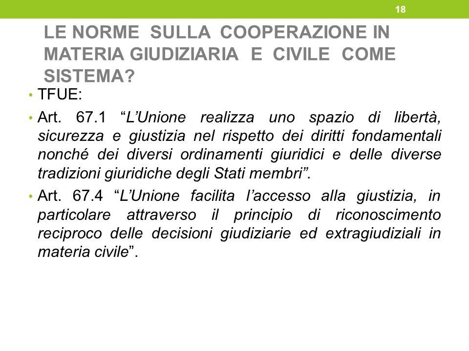 """LE NORME SULLA COOPERAZIONE IN MATERIA GIUDIZIARIA E CIVILE COME SISTEMA? TFUE: Art. 67.1 """"L'Unione realizza uno spazio di libertà, sicurezza e giusti"""