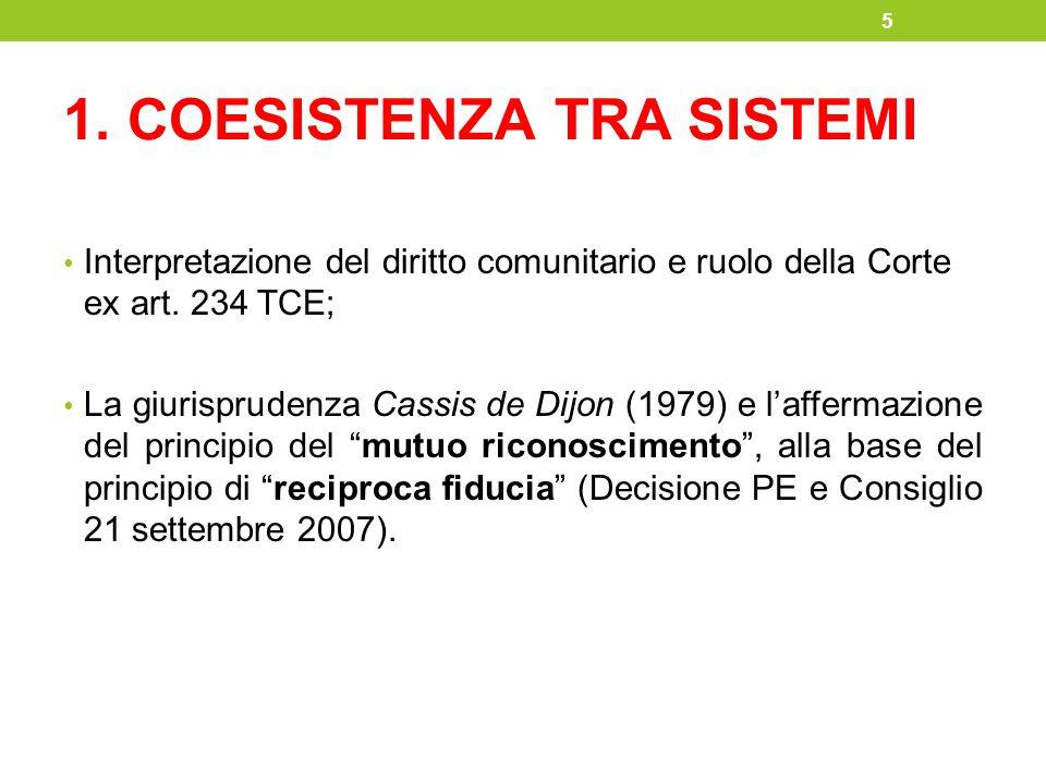 1. COESISTENZA TRA SISTEMI Interpretazione del diritto comunitario e ruolo della Corte ex art. 234 TCE; La giurisprudenza Cassis de Dijon (1979) e l'a
