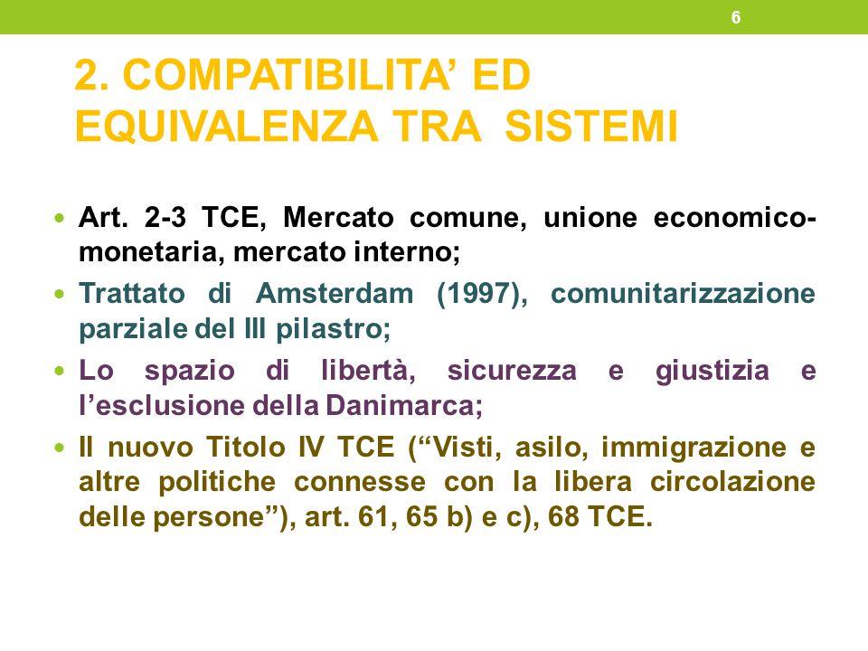 2. COMPATIBILITA' ED EQUIVALENZA TRA SISTEMI Art. 2-3 TCE, Mercato comune, unione economico- monetaria, mercato interno; Trattato di Amsterdam (1997),