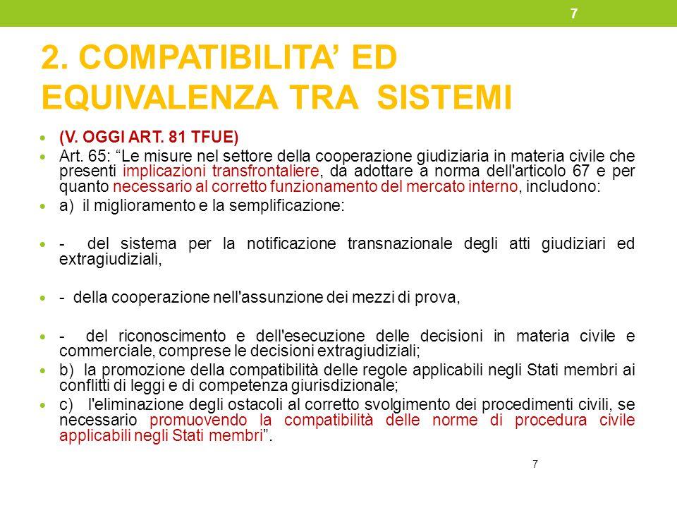 """2. COMPATIBILITA' ED EQUIVALENZA TRA SISTEMI (V. OGGI ART. 81 TFUE) Art. 65: """"Le misure nel settore della cooperazione giudiziaria in materia civile c"""