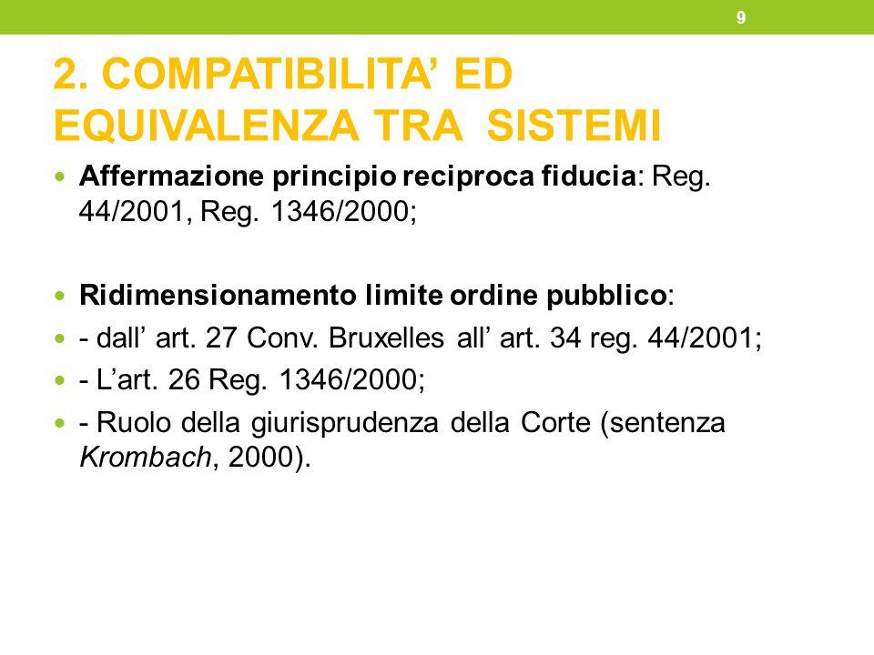 2. COMPATIBILITA' ED EQUIVALENZA TRA SISTEMI Affermazione principio reciproca fiducia: Reg. 44/2001, Reg. 1346/2000; Ridimensionamento limite ordine p