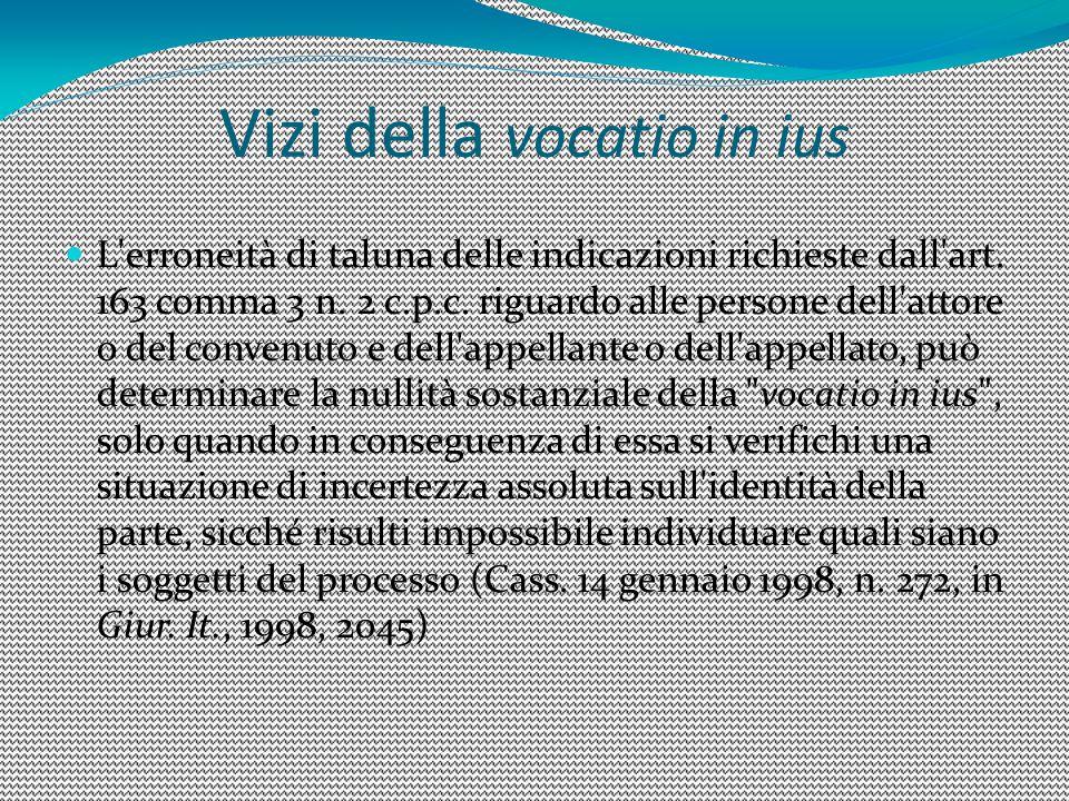 Vizi della vocatio in ius L'erroneità di taluna delle indicazioni richieste dall'art. 163 comma 3 n. 2 c.p.c. riguardo alle persone dell'attore o del
