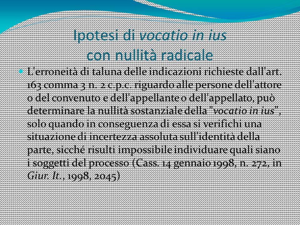 Ipotesi di vocatio in ius con nullità radicale L'erroneità di taluna delle indicazioni richieste dall'art. 163 comma 3 n. 2 c.p.c. riguardo alle perso