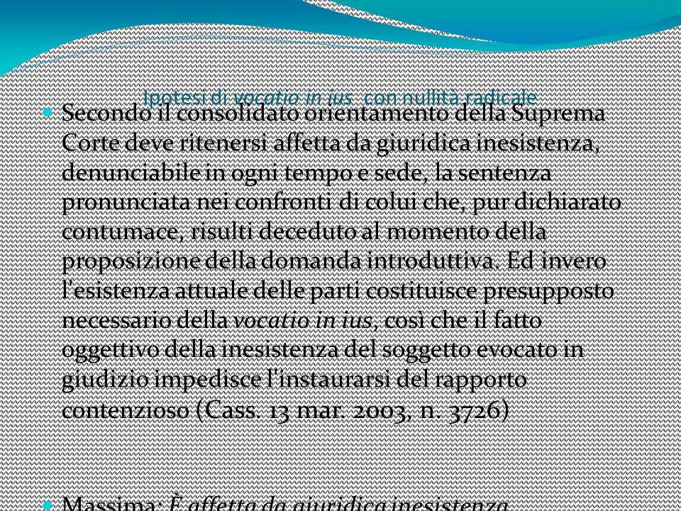 Ipotesi di vocatio in ius con nullità radicale Secondo il consolidato orientamento della Suprema Corte deve ritenersi affetta da giuridica inesistenza