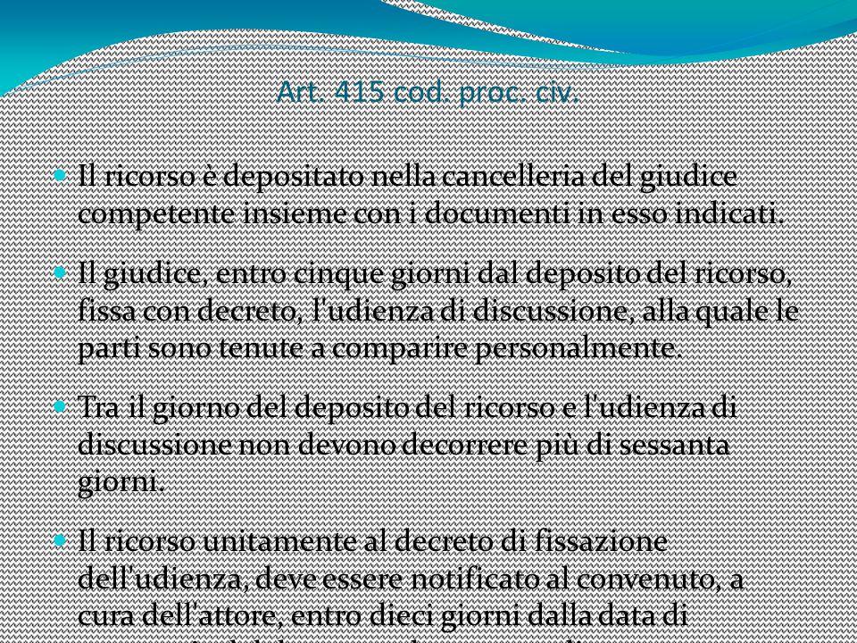 Art. 415 cod. proc. civ. Il ricorso è depositato nella cancelleria del giudice competente insieme con i documenti in esso indicati. Il giudice, entro