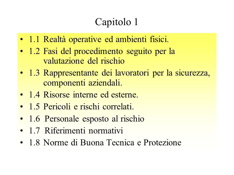 1.1Realtà operative ed ambienti fisici. 1.2Fasi del procedimento seguito per la valutazione del rischio 1.3Rappresentante dei lavoratori per la sicure
