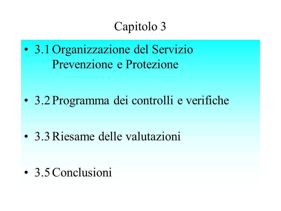 3.1Organizzazione del Servizio Prevenzione e Protezione 3.2Programma dei controlli e verifiche 3.3Riesame delle valutazioni 3.5Conclusioni Capitolo 3