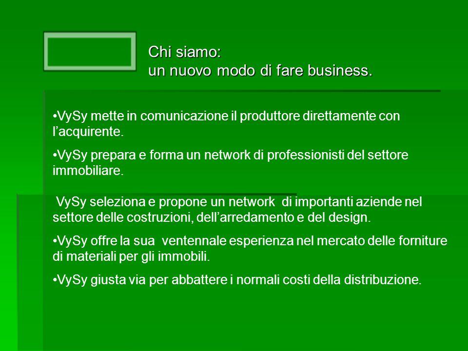 Chi siamo: un nuovo modo di fare business. VySy mette in comunicazione il produttore direttamente con l'acquirente. VySy prepara e forma un network di