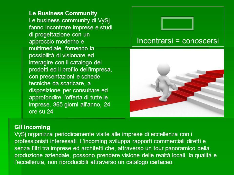 Le Business Community Le business community di VySj fanno incontrare imprese e studi di progettazione con un approccio moderno e multimediale, fornend