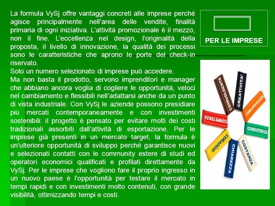 La formula VySj offre vantaggi concreti alle imprese perché agisce principalmente nell'area delle vendite, finalità primaria di ogni iniziativa. L'att