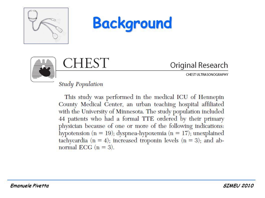 Risultati Età mediana, anni (M/F)81 (73/84.5) Sesso M, n (%) F, n (%) 19 (38.7) 12 (61.3) Motivo dell'accesso, n (%) dispnea acuta cardiopalmo dolore toracico sincope 20 (64.5) 1 (3.2) 4 (12.9) 6 (19.4) ECG, n (%) ritmo sinusale alterato 25 (80.6) 6 (19.4) Emanuele PivettaSIMEU 2010