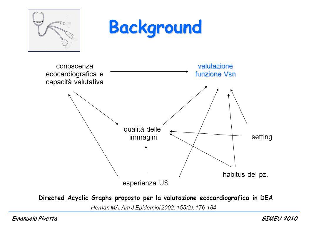 Background conoscenza ecocardiografica e capacità valutativa esperienza US qualità delle immagini Directed Acyclic Graphs proposto per la valutazione ecocardiografica in DEA setting habitus del pz.
