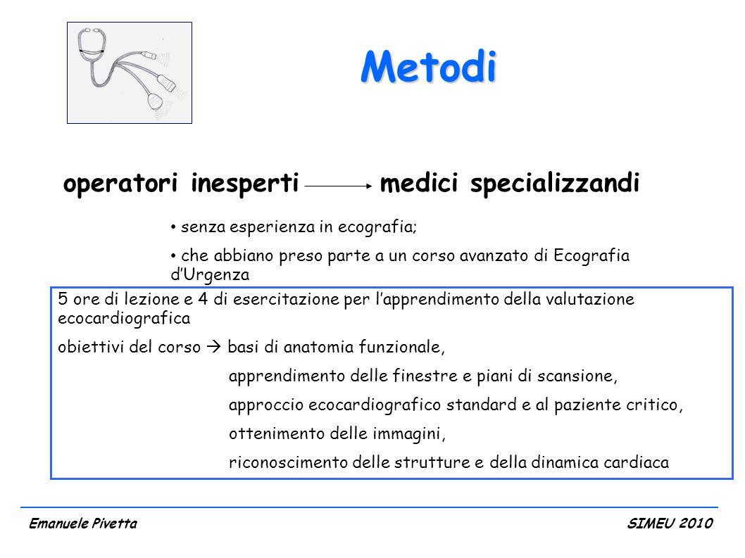 Metodi Emanuele PivettaSIMEU 2010 gold standard 1 singolo ecocardiografista (GS) esperto, urgentista e cardiologo con livello 3 di esperienza American Heart Association (ACC/AHA clinincal competence statement in echocardiography, JACC 2003; 41(4): 687-708)