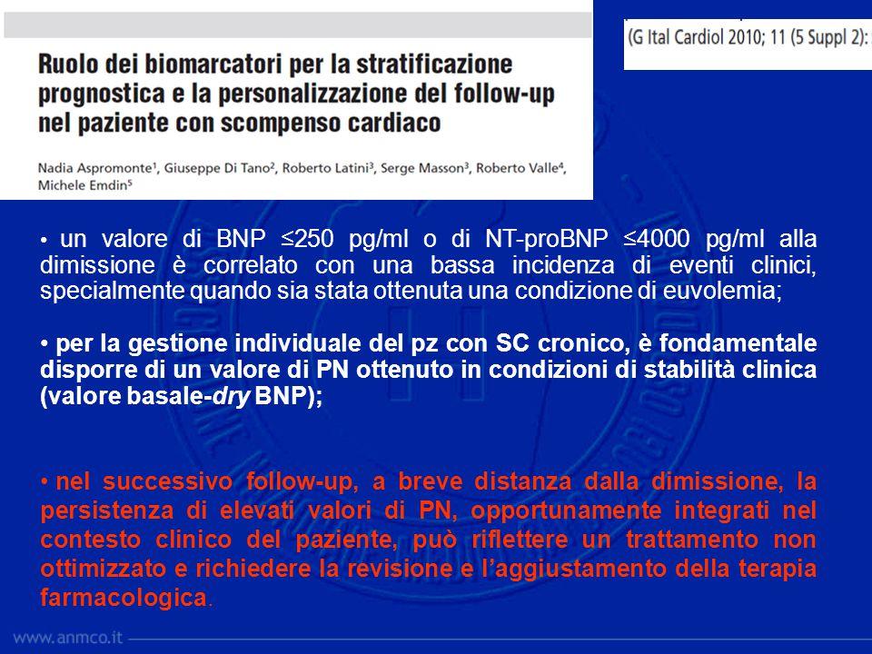un valore di BNP ≤250 pg/ml o di NT-proBNP ≤4000 pg/ml alla dimissione è correlato con una bassa incidenza di eventi clinici, specialmente quando sia