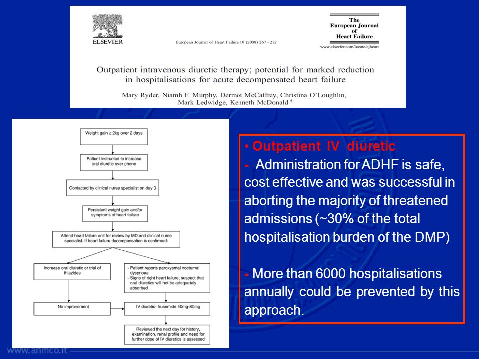 Outpatient IV diuretic - Administration for ADHF is safe, cost effective and was successful in aborting the majority of threatened admissions (~30% of the total hospitalisation burden of the DMP) - More than 6000 hospitalisations annually could be prevented by this approach.