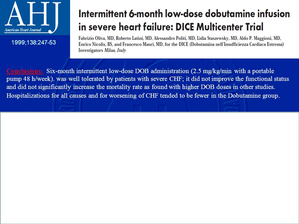 Conclusions: Six-month intermittent low-dose DOB administration (2.5 mg/kg/min with a portable pump 48 h/week).