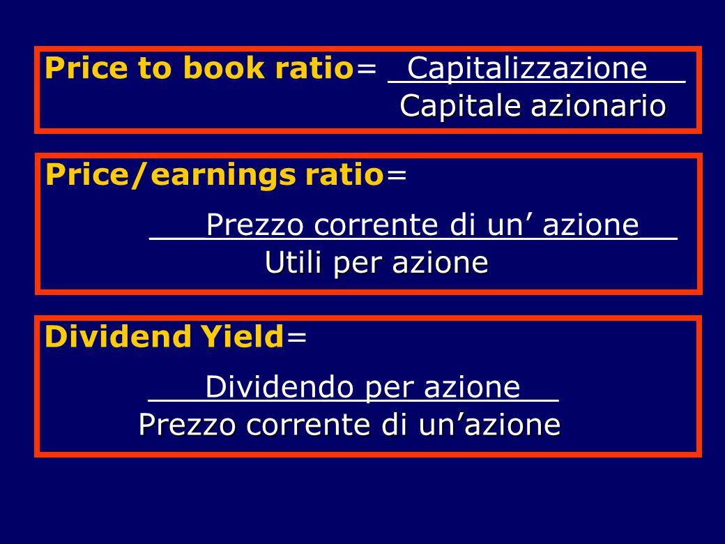 Price to book ratio= _Capitalizzazione__ Capitale azionario Capitale azionario Price/earnings ratio= ___Prezzo corrente di un' azione__ Utili per azio