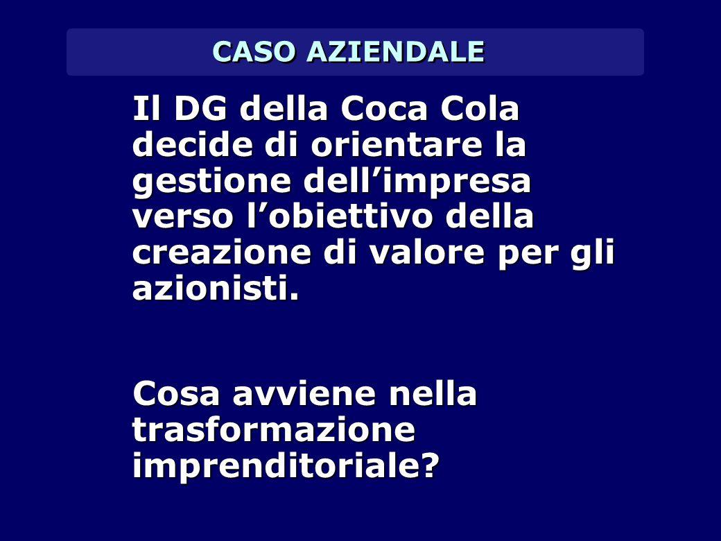 CASO AZIENDALE Il DG della Coca Cola decide di orientare la gestione dell'impresa verso l'obiettivo della creazione di valore per gli azionisti. Il DG