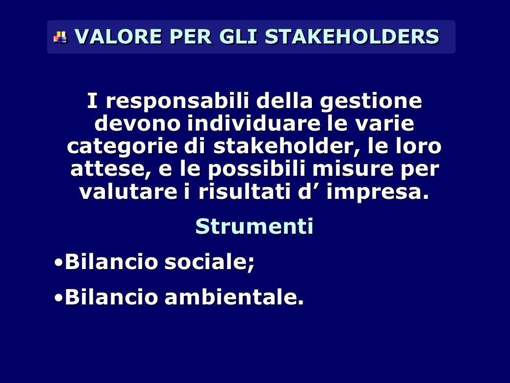 I responsabili della gestione devono individuare le varie categorie di stakeholder, le loro attese, e le possibili misure per valutare i risultati d'