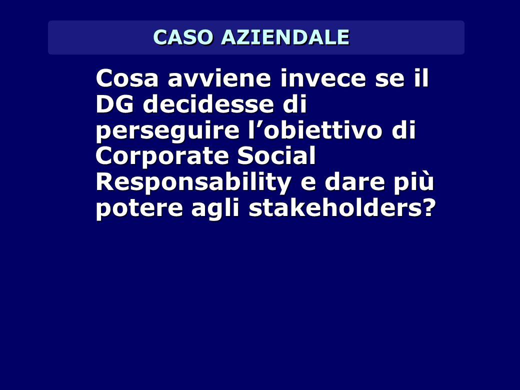 CASO AZIENDALE Cosa avviene invece se il DG decidesse di perseguire l'obiettivo di Corporate Social Responsability e dare più potere agli stakeholders