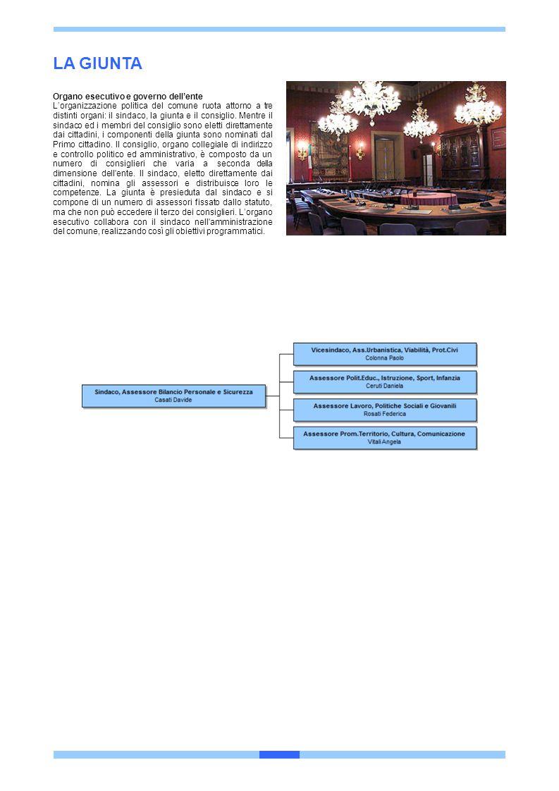 LA GIUNTA Organo esecutivo e governo dell'ente L'organizzazione politica del comune ruota attorno a tre distinti organi: il sindaco, la giunta e il co
