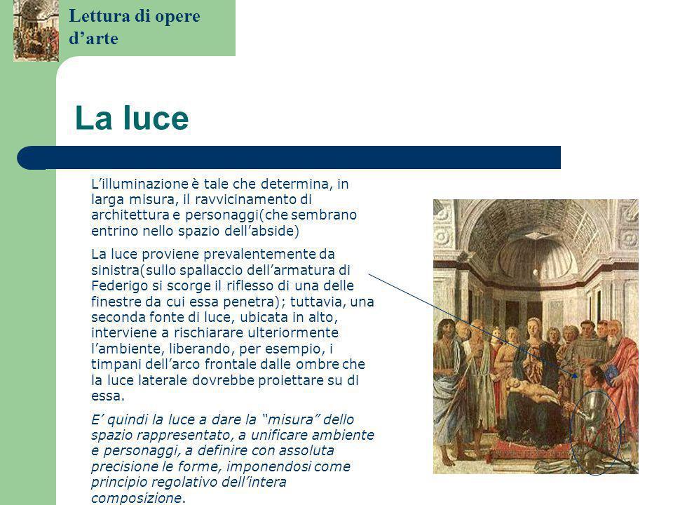 Lettura di opere d'arte Costruzione prospettica L'idea di fondo di Piero è che l'infinita varietà degli oggetti naturali può essere ricondotta all'essenziale e misurabile regolarità delle forme geometriche, e che quindi tutto può essere rappresentato grazie alla mediazione delle leggi geometriche