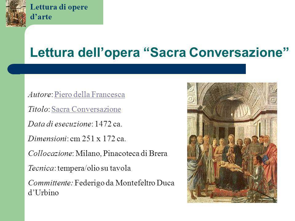 Lettura di opere d'arte Lettura dell'opera Sacra Conversazione Autore: Piero della FrancescaPiero della Francesca Titolo: Sacra ConversazioneSacra Conversazione Data di esecuzione: 1472 ca.
