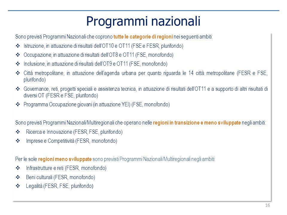 16 Programmi nazionali