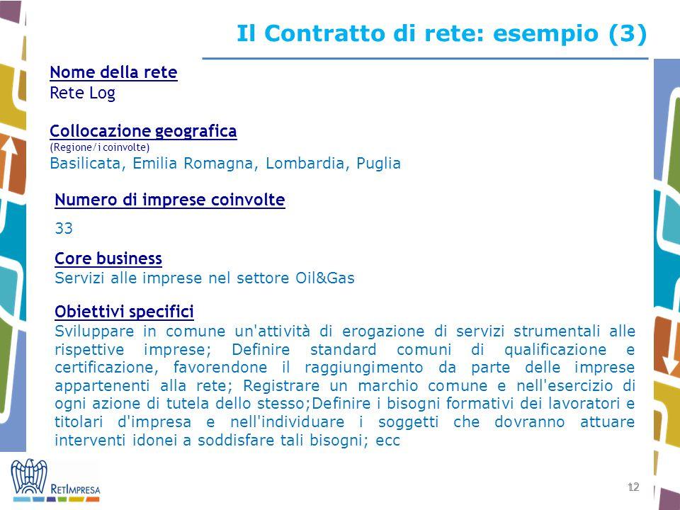 12 Il Contratto di rete: esempio (3) Nome della rete Rete Log Collocazione geografica (Regione/i coinvolte) Basilicata, Emilia Romagna, Lombardia, Pug