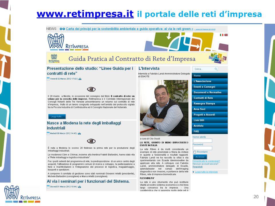 20 www.retimpresa.itwww.retimpresa.it il portale delle reti d'impresa