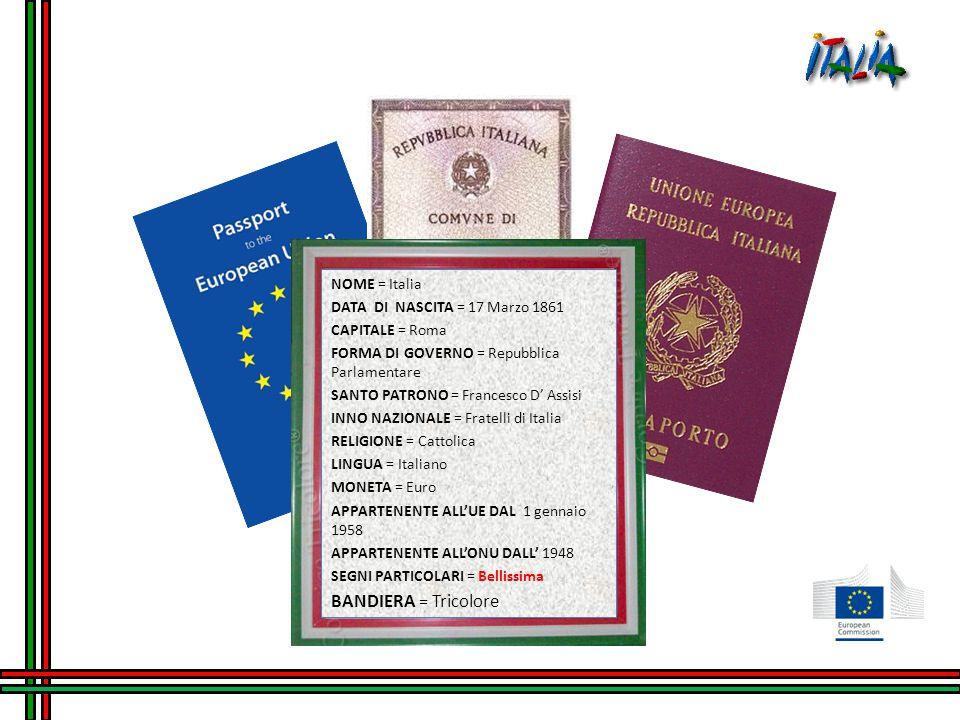 NOME = Italia DATA DI NASCITA = 17 Marzo 1861 CAPITALE = Roma FORMA DI GOVERNO = Repubblica Parlamentare SANTO PATRONO = Francesco D' Assisi INNO NAZIONALE = Fratelli di Italia RELIGIONE = Cattolica LINGUA = Italiano MONETA = Euro APPARTENENTE ALL'UE DAL 1 gennaio 1958 APPARTENENTE ALL'ONU DALL' 1948 SEGNI PARTICOLARI = Bellissima BANDIERA = Tricolore