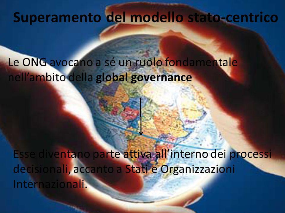 Superamento del modello stato-centrico Le ONG avocano a sé un ruolo fondamentale nell'ambito della global governance Esse diventano parte attiva all'i