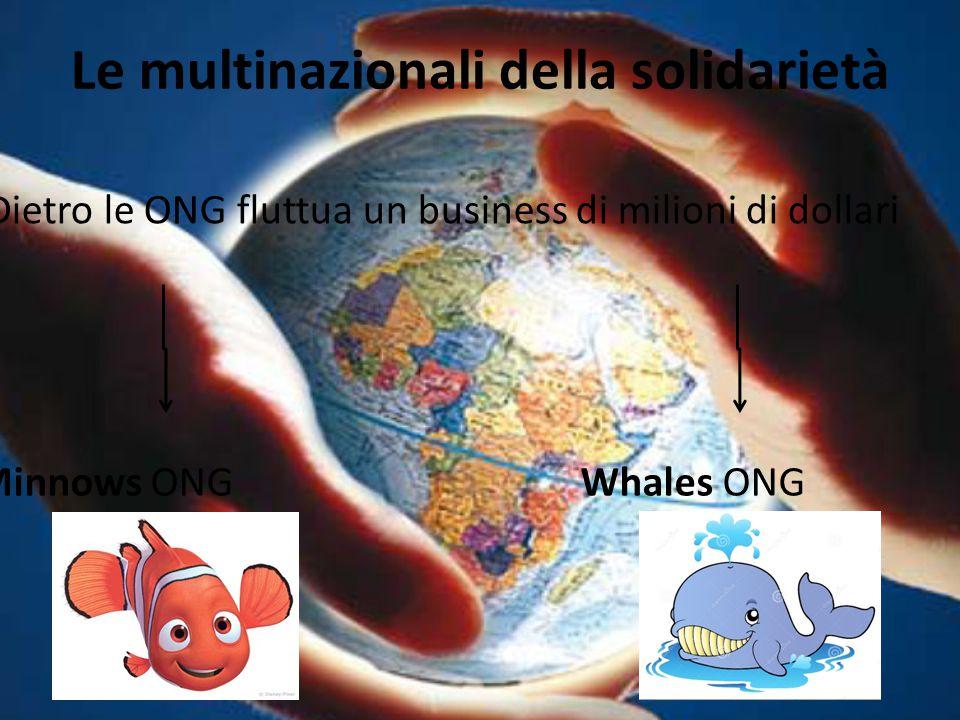 Le multinazionali della solidarietà Dietro le ONG fluttua un business di milioni di dollari Minnows ONG Whales ONG