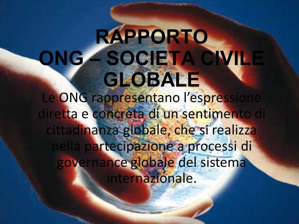 RAPPORTO ONG – SOCIETA CIVILE GLOBALE Le ONG rappresentano l'espressione diretta e concreta di un sentimento di cittadinanza globale, che si realizza