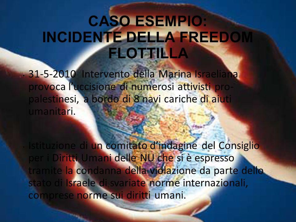 CASO ESEMPIO: INCIDENTE DELLA FREEDOM FLOTTILLA 31-5-2010 Intervento della Marina Israeliana provoca l'uccisione di numerosi attivisti pro- palestines