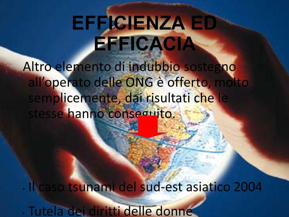 EFFICIENZA ED EFFICACIA Altro elemento di indubbio sostegno all'operato delle ONG è offerto, molto semplicemente, dai risultati che le stesse hanno co