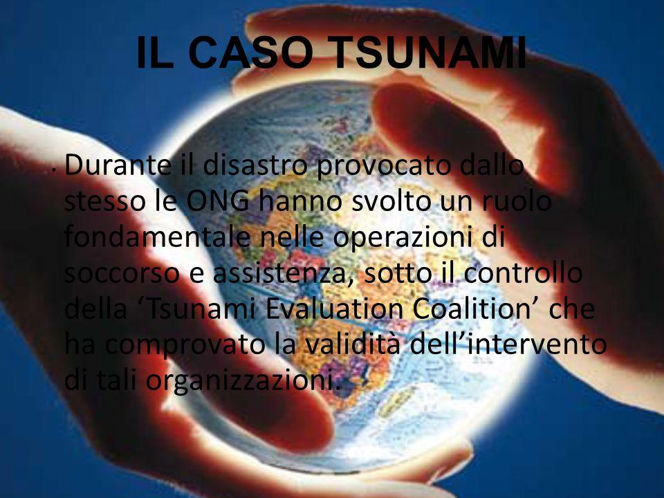 IL CASO TSUNAMI Durante il disastro provocato dallo stesso le ONG hanno svolto un ruolo fondamentale nelle operazioni di soccorso e assistenza, sotto
