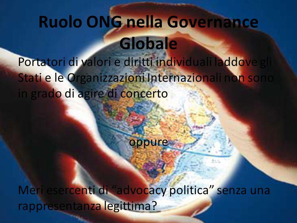 RAPPORTO ONG – SOCIETA CIVILE GLOBALE Le ONG rappresentano l'espressione diretta e concreta di un sentimento di cittadinanza globale, che si realizza nella partecipazione a processi di governance globale del sistema internazionale.