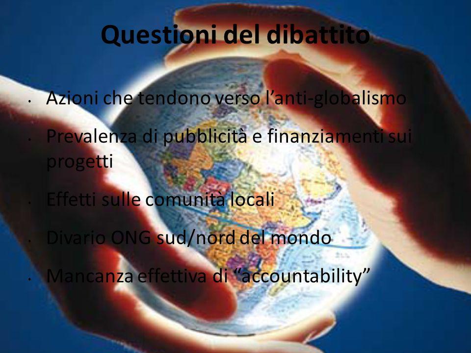Questioni del dibattito Azioni che tendono verso l'anti-globalismo Prevalenza di pubblicità e finanziamenti sui progetti Effetti sulle comunità locali