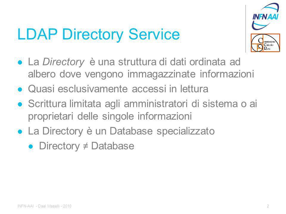 LDAP Directory Service La Directory è una struttura di dati ordinata ad albero dove vengono immagazzinate informazioni Quasi esclusivamente accessi in lettura Scrittura limitata agli amministratori di sistema o ai proprietari delle singole informazioni La Directory è un Database specializzato Directory ≠ Database 2INFN-AAI - Dael Maselli - 2010