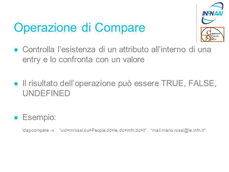 Operazione di Compare Controlla l'esistenza di un attributo all'interno di una entry e lo confronta con un valore Il risultato dell'operazione può essere TRUE, FALSE, UNDEFINED Esempio: ldapcompare -x uid=mrossi,ou=People,dc=le, dc=infn,dc=it mail:mario.rossi@le.infn.it