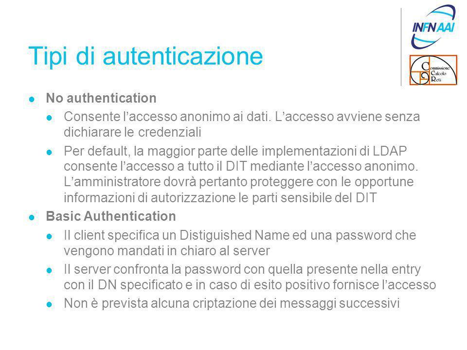 Tipi di autenticazione No authentication Consente l'accesso anonimo ai dati.