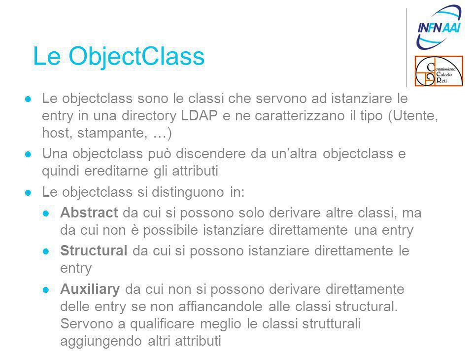 Le ObjectClass Le objectclass sono le classi che servono ad istanziare le entry in una directory LDAP e ne caratterizzano il tipo (Utente, host, stampante, …) Una objectclass può discendere da un'altra objectclass e quindi ereditarne gli attributi Le objectclass si distinguono in: Abstract da cui si possono solo derivare altre classi, ma da cui non è possibile istanziare direttamente una entry Structural da cui si possono istanziare direttamente le entry Auxiliary da cui non si possono derivare direttamente delle entry se non affiancandole alle classi structural.