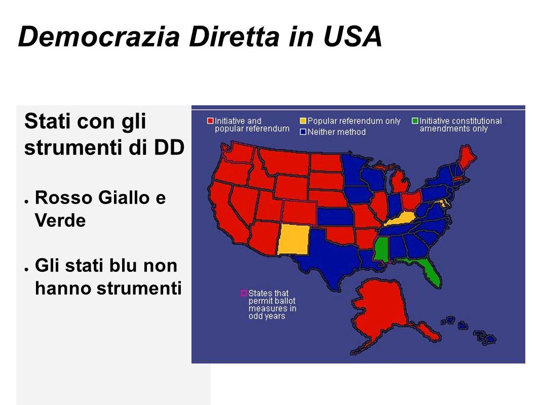 Democrazia Diretta in USA Stati con gli strumenti di DD ● Rosso Giallo e Verde ● Gli stati blu non hanno strumenti