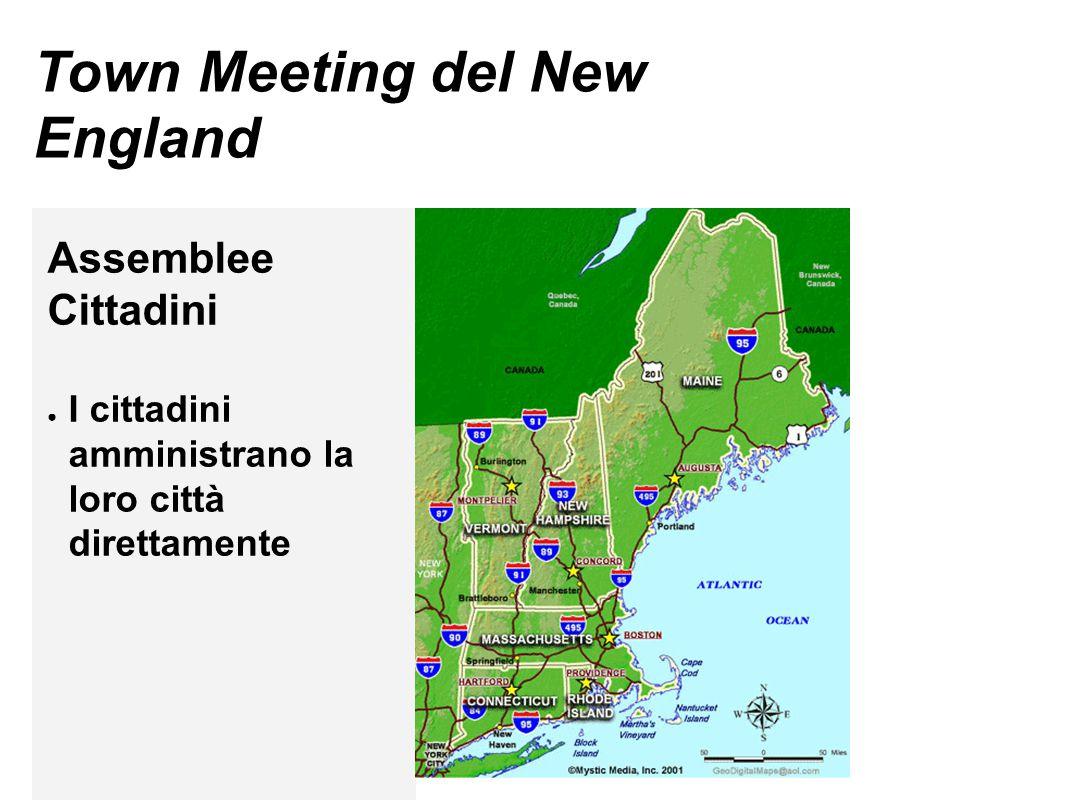 Town Meeting del New England Assemblee Cittadini ● I cittadini amministrano la loro città direttamente