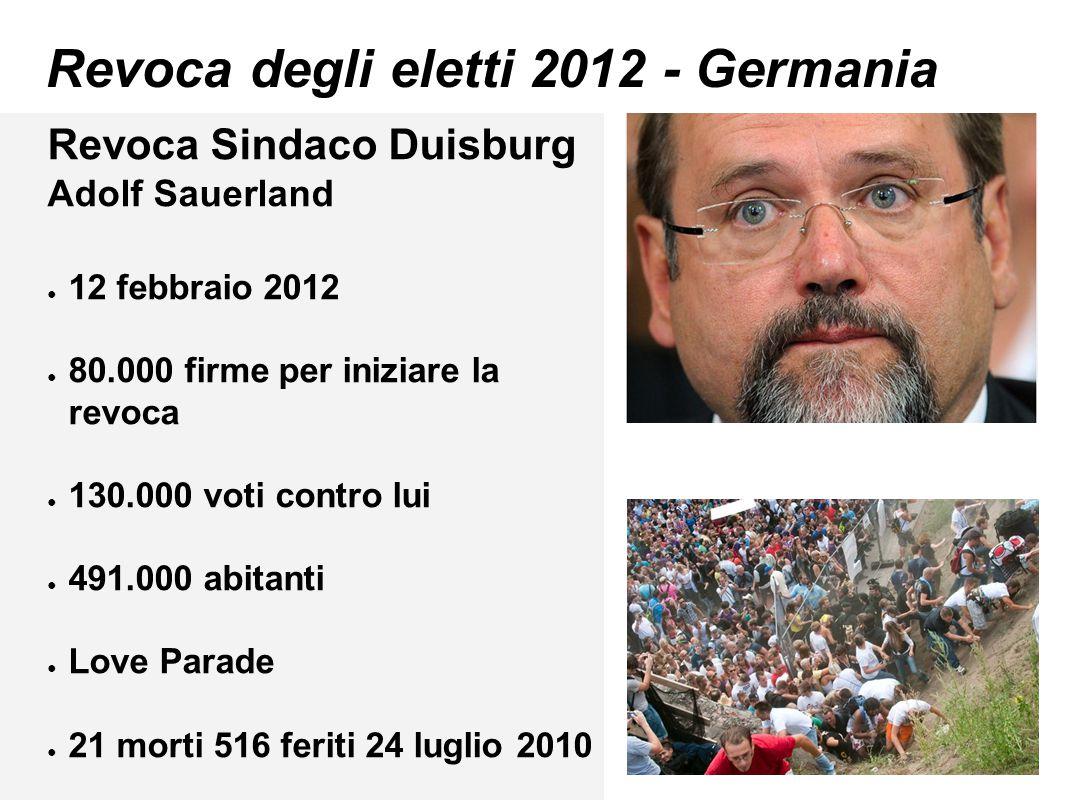 Revoca degli eletti 2012 - Germania Revoca Sindaco Duisburg Adolf Sauerland ● 12 febbraio 2012 ● 80.000 firme per iniziare la revoca ● 130.000 voti co