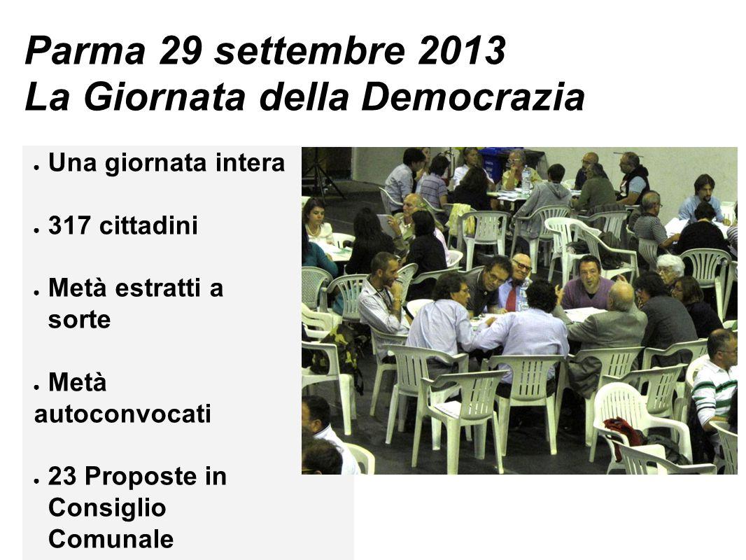 Parma 29 settembre 2013 La Giornata della Democrazia ● Una giornata intera ● 317 cittadini ● Metà estratti a sorte ● Metà autoconvocati ● 23 Proposte in Consiglio Comunale