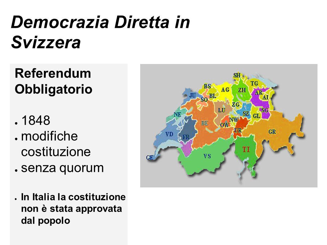 Democrazia Diretta in Svizzera Referendum Obbligatorio ● 1848 ● modifiche costituzione ● senza quorum ● In Italia la costituzione non è stata approvata dal popolo